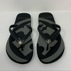 Tory Burch Black/Gray Emory Flip Flops, Size 5